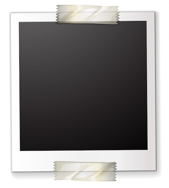 A polaroid attached to a piece of paper Free Vector