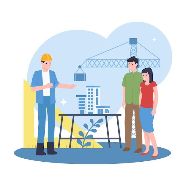 プロの建築家が潜在的なバイヤーに建築プロジェクトを説明しています Premiumベクター