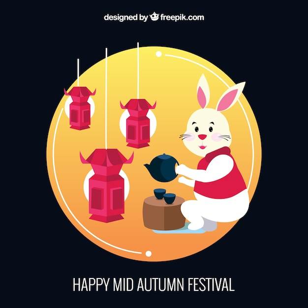 A rabbit serving tea, mid autumn festival