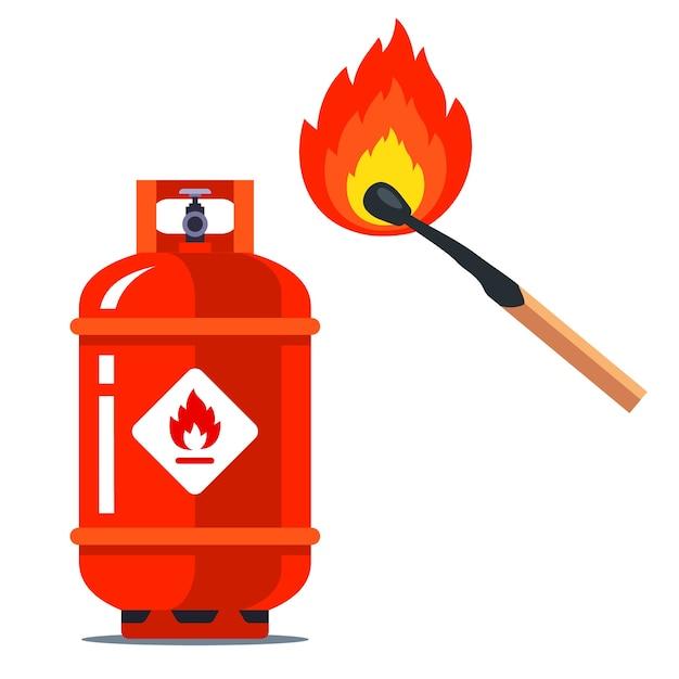 赤いガスが燃えるマッチの横にできます。可燃性の状況。白い背景のイラスト。 Premiumベクター
