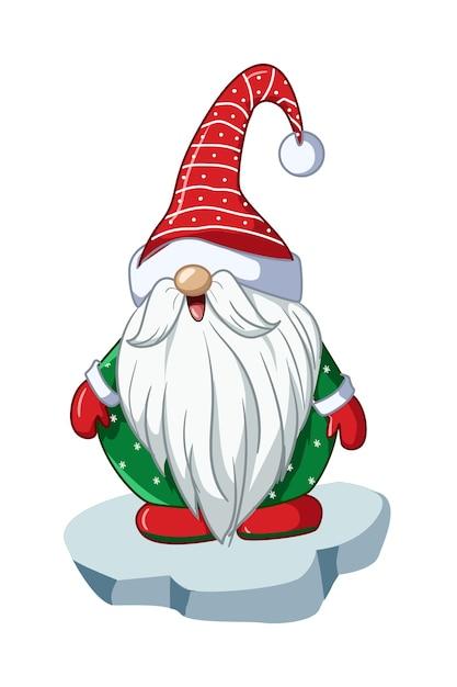 緑のシャツとクリスマスの帽子をかぶったサンタの小人 Premiumベクター