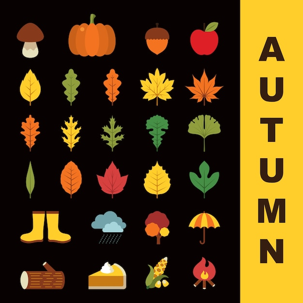 A set of autumn icons in flat style Free Vector