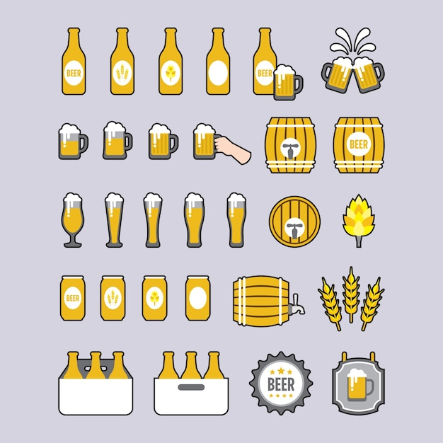 A set of beer icons in flat style 無料ベクター