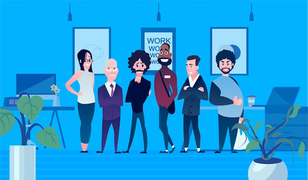 Набор деловых персонажей для предпринимателей. командная работа иллюстрации шаржа. разные люди на заднем плане офиса. Premium векторы