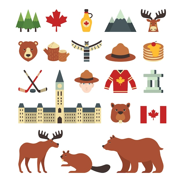 a set of canada icons vector free download moose images clip art printable Moose Silhouette Clip Art