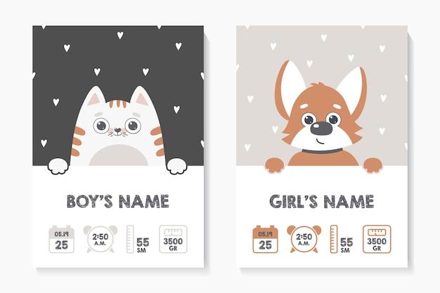 子供のポスター、身長、体重、生年月日。ネコ。犬 Premiumベクター