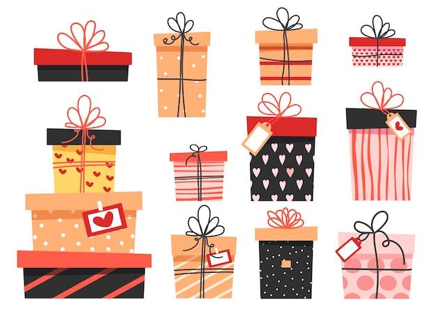화려한 선물 세트, 리본이 달린 다양한 귀여운 상자. 프리미엄 벡터