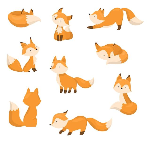 Набор милый мультфильм лисы в разных действиях. иллюстрация в плоском мультяшном стиле. Premium векторы