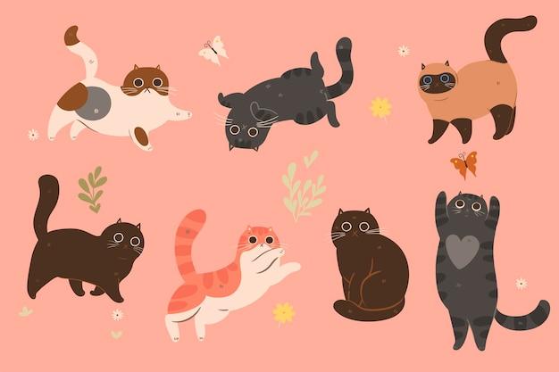 さまざまな色のかわいい猫のセット。 Premiumベクター