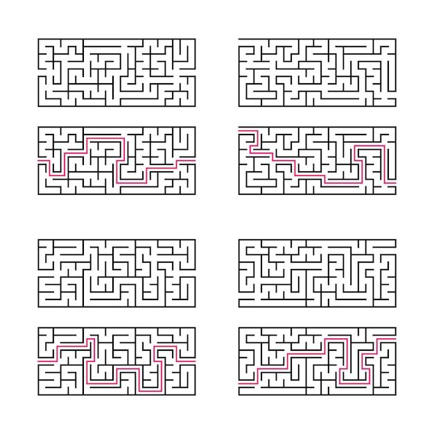 Набор из четырех прямоугольных лабиринтов. Premium векторы