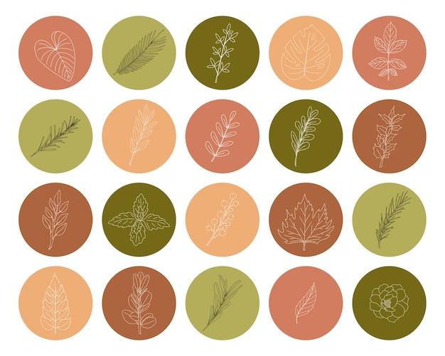 나뭇 가지와 잎을 손으로 그린 둥근 모양에 아이콘의 집합입니다. 소셜 미디어 프로필 및 웹 디자인을위한 녹색 및 분홍색 톤의 식물 장식 요소 모음입니다. 벡터 일러스트 레이 션 프리미엄 벡터
