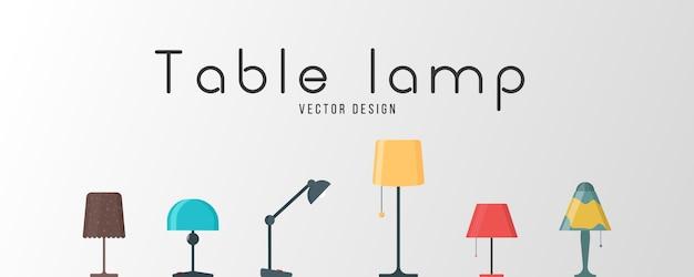 Комплект ламп на белой предпосылке. мебельная люстра, напольная и настольная лампа в плоском мультяшном стиле. люстры, осветитель, фонарик - элементы современного интерьера. иллюстрация. Premium векторы