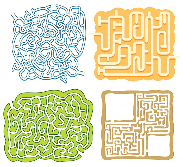A Set Of Maze Puzzle Game Template Vector Premium Download