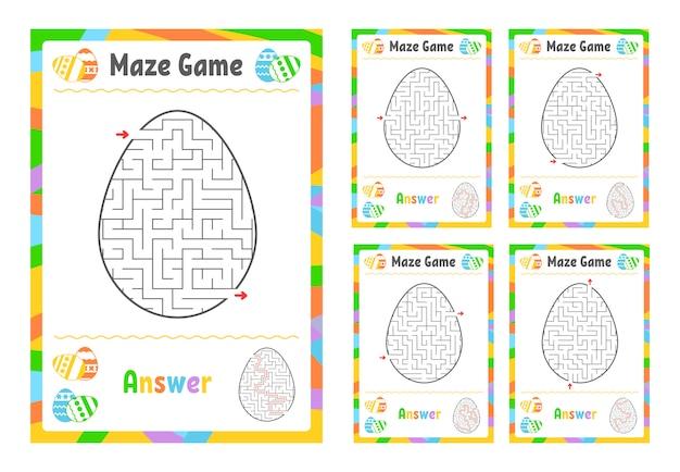 Набор лабиринтов. игра для детей. пазл для детей. головоломка лабиринт Premium векторы