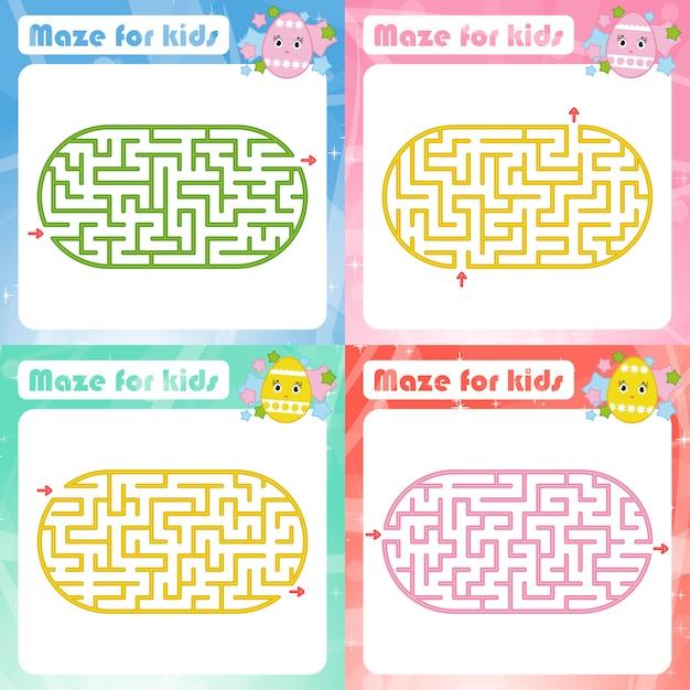 Набор лабиринтов. игра для детей. пазл для детей. Premium векторы