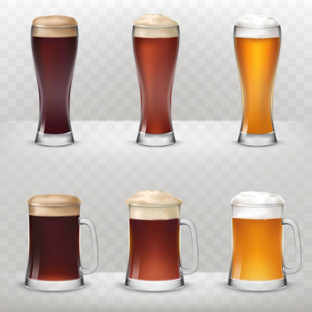 A set of mugs and tall glasses of different kinds of beer.
