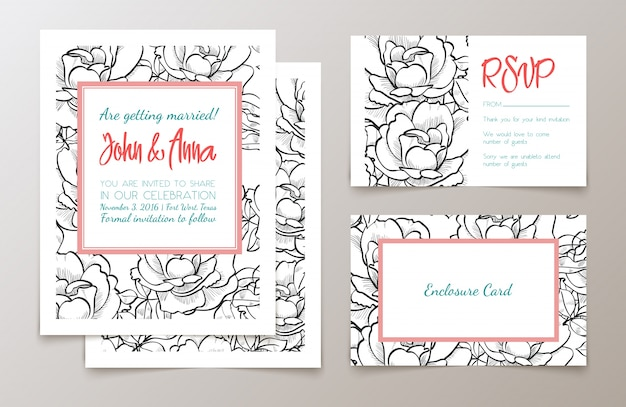 A set of office supplies for weddings invitation vector premium a set of office supplies for weddings invitation premium vector stopboris Gallery