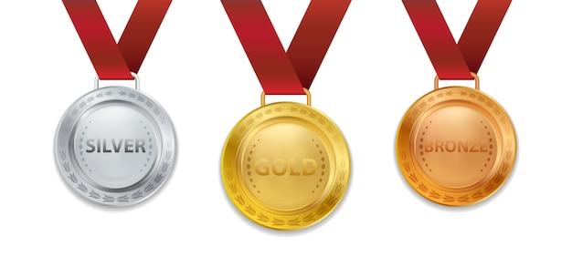 빨간 리본 일러스트와 함께 현실적인 3d 챔피언 골드 실버 및 브론즈 메달 세트 프리미엄 벡터