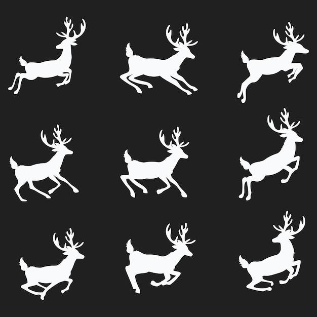 走るシカのシルエットのセット。クリスマスの鹿のコレクション。鹿の跳躍。 Premiumベクター