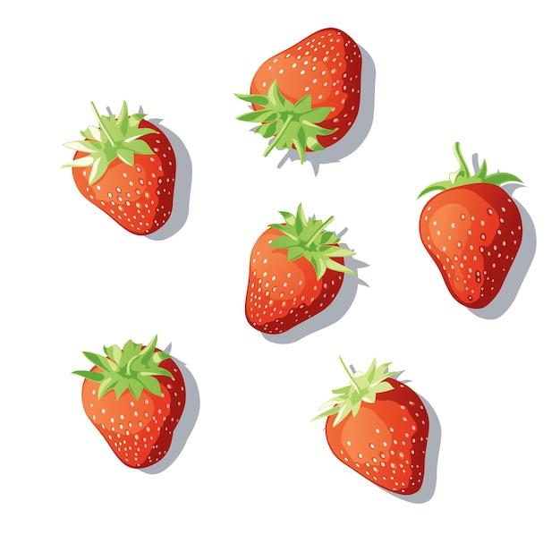 Набор клубники. ягоды разбросаны по поверхности. клубника под разными углами. иллюстрация Premium векторы