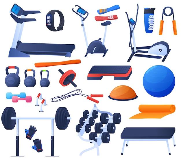 スポーツ、ジムでのトレーニングのためのツールのセット。トレッドミル、エアロバイク、ダンベル、山、心拍数モニター。カラフルなイラスト Premiumベクター