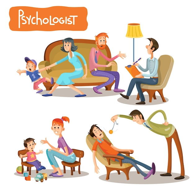 A set of vector cartoon illustrations the patient is talking with a psychotherapist Free Vector