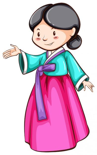アジアの女の子の簡単なスケッチ 無料ベクター