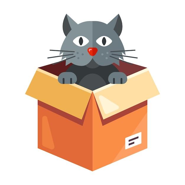 野良猫が段ボール箱に住んでいます。白い背景のキャライラスト。 Premiumベクター
