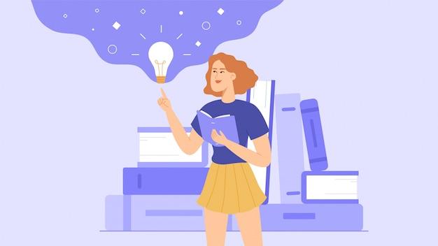 学生または女子高生が本を読みます。読みながら、女の子はアイデアを思い付きます。本の山が背景にあります。 Premiumベクター