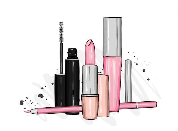 化粧品とアクセサリーのスタイリッシュなセット。口紅、マスカラ、アイシャドウ、リップグロス、鉛筆。ファッションスタイル。図。 Premiumベクター