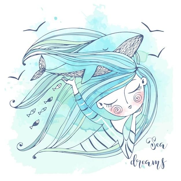 Милая девушка мечтает о море. ее фантазия - большой синий кит. графика и акварель. Premium векторы