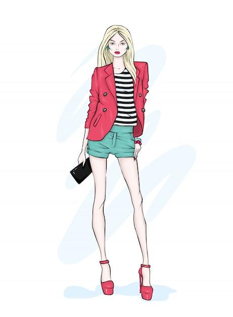 背の高い細身のショートパンツの女の子、ジャケット、ハイヒール。 Premiumベクター
