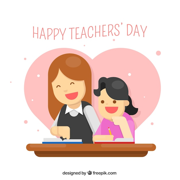 A teacher with a student, teacher\'s day