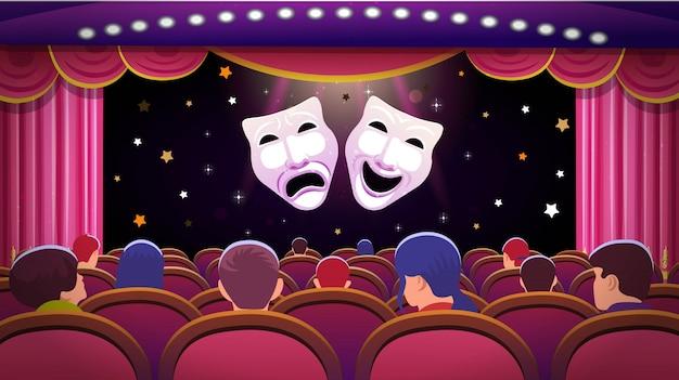 Сцена театра с красным открытым занавесом и красными сиденьями с людьми и масками театра комедии и трагедии. векторная иллюстрация шаблона Premium векторы