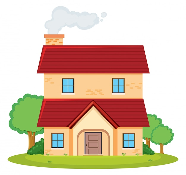 A two storey house Free Vector