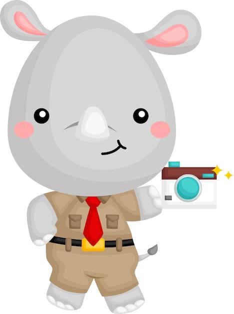 Вектор: милый носорог в милом костюме сафари-рейнджера Premium векторы
