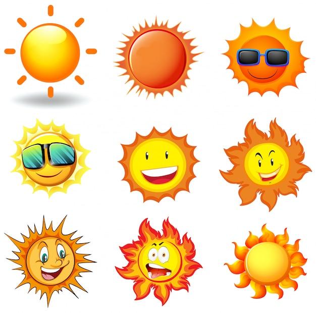 Векторный набор солнца Premium векторы