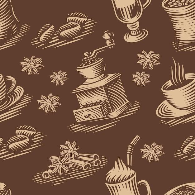 Винтажный бесшовный фон для кофейной темы Premium векторы