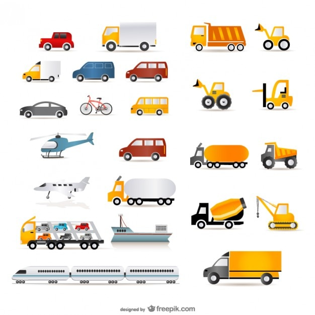 a wide range of transport vector Free Vector