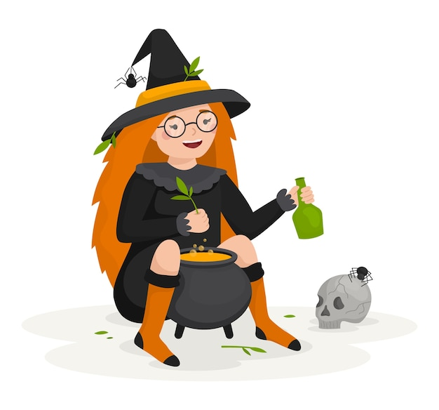 Девушка-ведьма варит зелье для счастливого хэллоуина. рядом с горшком череп и пауки Premium векторы