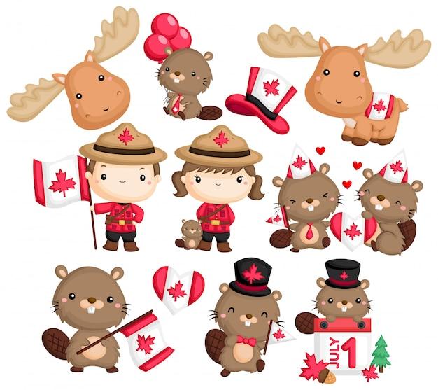 カナダ、ビーバー、ムースをテーマにしたa Premiumベクター
