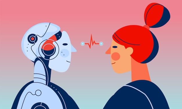 Женщина и робот с искусственным интеллектом смотрят друг на друга Premium векторы