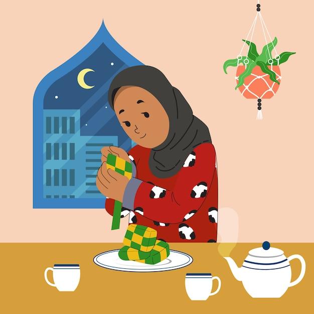 イードフィッター/ハリーラヤ/断食を祝うために自宅でケトゥパットを作る女性。 Premiumベクター