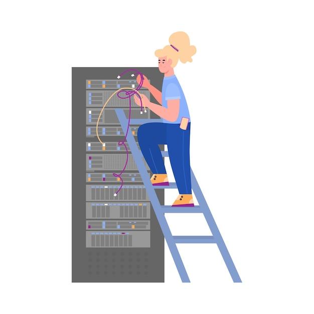 女性のシステム管理者が技術的な作業を行います。エンジニアは、データベースを保存するためのデジタルサーバーの技術サポートを提供します。フラット漫画孤立イラスト Premiumベクター
