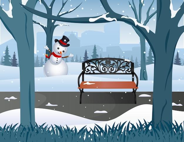 雪に覆われた霧の冬の公園の木造公園のベンチ Premiumベクター