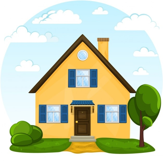 Building A New House Cartoon : A yellow house vector free download