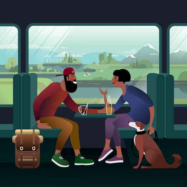 バックパックと犬を連れた若いカップルが全国を電車で旅します。列車の窓の眺め。 Premiumベクター