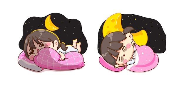 판타지 밤 시간과 달콤한 꿈 개념에서 자고있는 어린 소녀 프리미엄 벡터