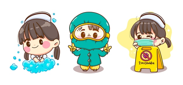 ウイルス対策の制服を着て、孤立した手を洗う若い看護師 Premiumベクター