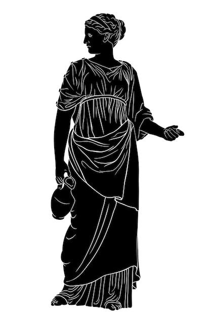 Молодая стройная древнегреческая женщина стоит и держит кувшин с вином на белом фоне. Premium векторы